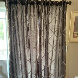 "Geometric tab top blackout curtains. 84"" length"
